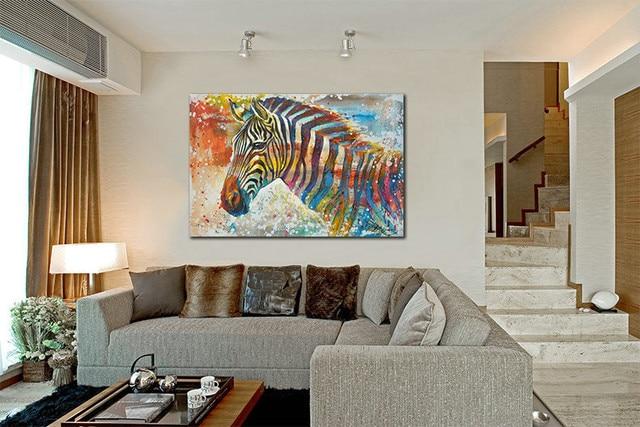 Wildlife Kunstdruck plus 100% Hand Painted Zebra Leinwand ...