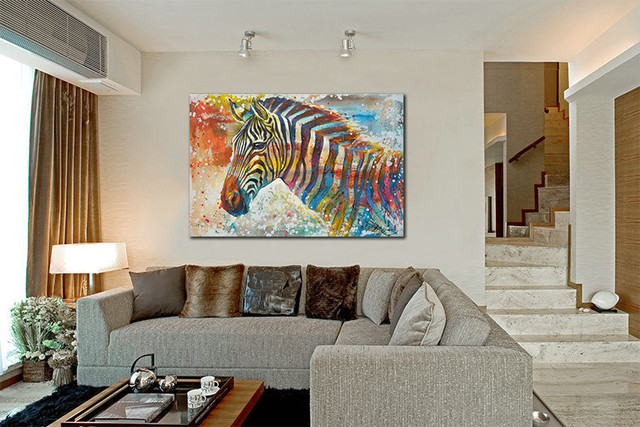 Wildlife Wall Art Print Plus 100 Hand Painted Zebra Canvas Oil Painting Home Decor Picture