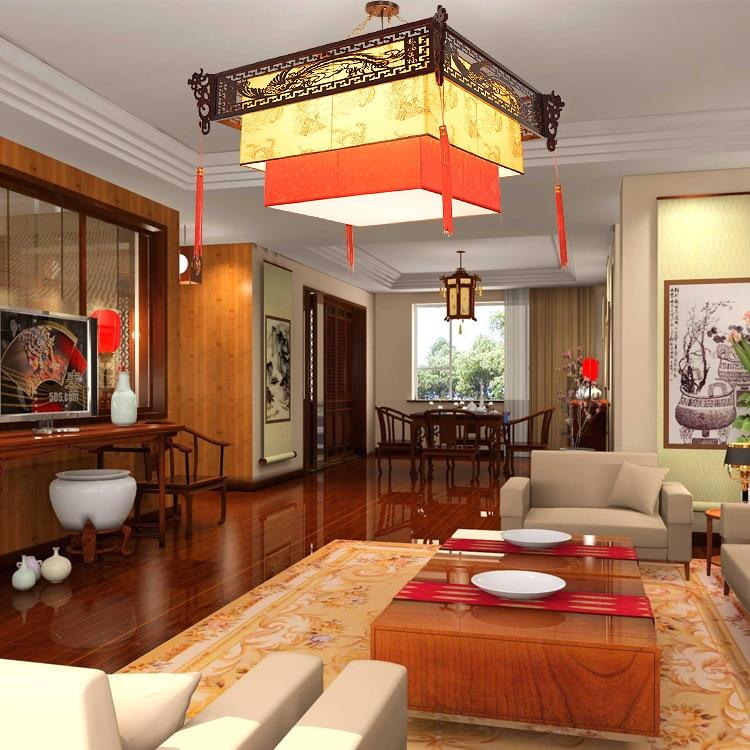 Китайская лампа кулон с драконом Ретро Qingming Shanghe карта droplight гостиная отель дом Клубная коробка деревянная китайская лампа ZS53 - 3