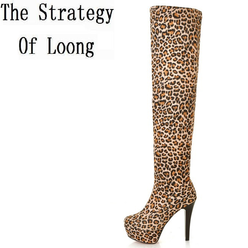 2017 New Spring Autumn Thigh High Heels Over The Knee High Sexy Shoes  Knee-Length Fashion Leopard Boots For Women Plus Size 43 nayiduyun new fashion thigh high boots women faux suede point toe over knee boots stretchy slim leg high heels pumps plus size