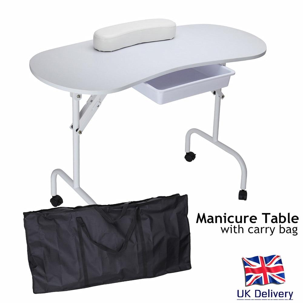 UK MJZ 2 Foldable Spa Beauty Salon Manicure Nail Art Table Desk with ...