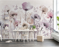 Beibehang Aesthetic Individuality Wallpaper Watercolor Hand Painted Style Lilac Floral TV Background Papel De Parede Wall