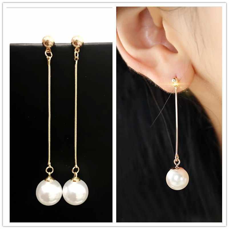 Pendientes largos de perla simulada con borlas largas, joyería Coreana de regalo para mujer, Pendientes de oro OL, Pendientes boucle d'oreille