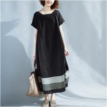 Summer 2019 Women Dress Loose Patchwork Black White Linen Button Female Vintage S Vestidos Oversized Long