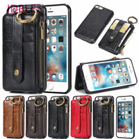 JDBLE Estuches Para iPhone7 7 Plus Cintura Colgando Cremallera Billetera de Cuero Ranura Para tarjeta de La Cubierta Del Soporte Para iPhoneX 8 8 Más 6 S 6 Plus Capa