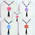 "Hot colorful synthetic shell flower pendants charms long nylon rope chain handmade women men Jewelry Necklace 38"" B959"