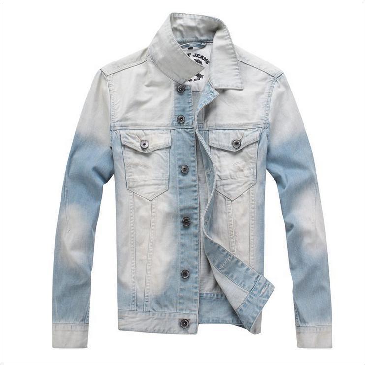 Новая Ретро Классическая джинсовая куртка мужская повседневная тонкая куртка мужская куртка джинсовая куртка плюс размер M-3XL - Цвет: Blue White