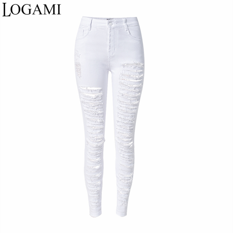 Ripped Jeans For Women High Waist Skinny Tight Jeans Woman Elastic