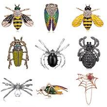 Броши в виде животных, насекомых, медь, пистолет, черный цвет, имитация жемчуга, брошь в виде паука для женщин, детей, пальто, костюм, одежда, аксессуары