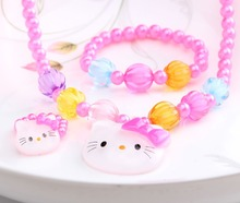 Summer Style 1set=3pcs Candy Beads hello kitty Accessories Necklace Bracelets Rings Baby Accessories Girls accessories