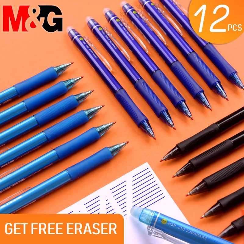 Выдвижная стираемая ручка M & G, 12 шт./лот, 0,5 мм, черные, прозрачные, синие чернила, ластик для стирания, гелевые ручки, Заправка для школы и офиса
