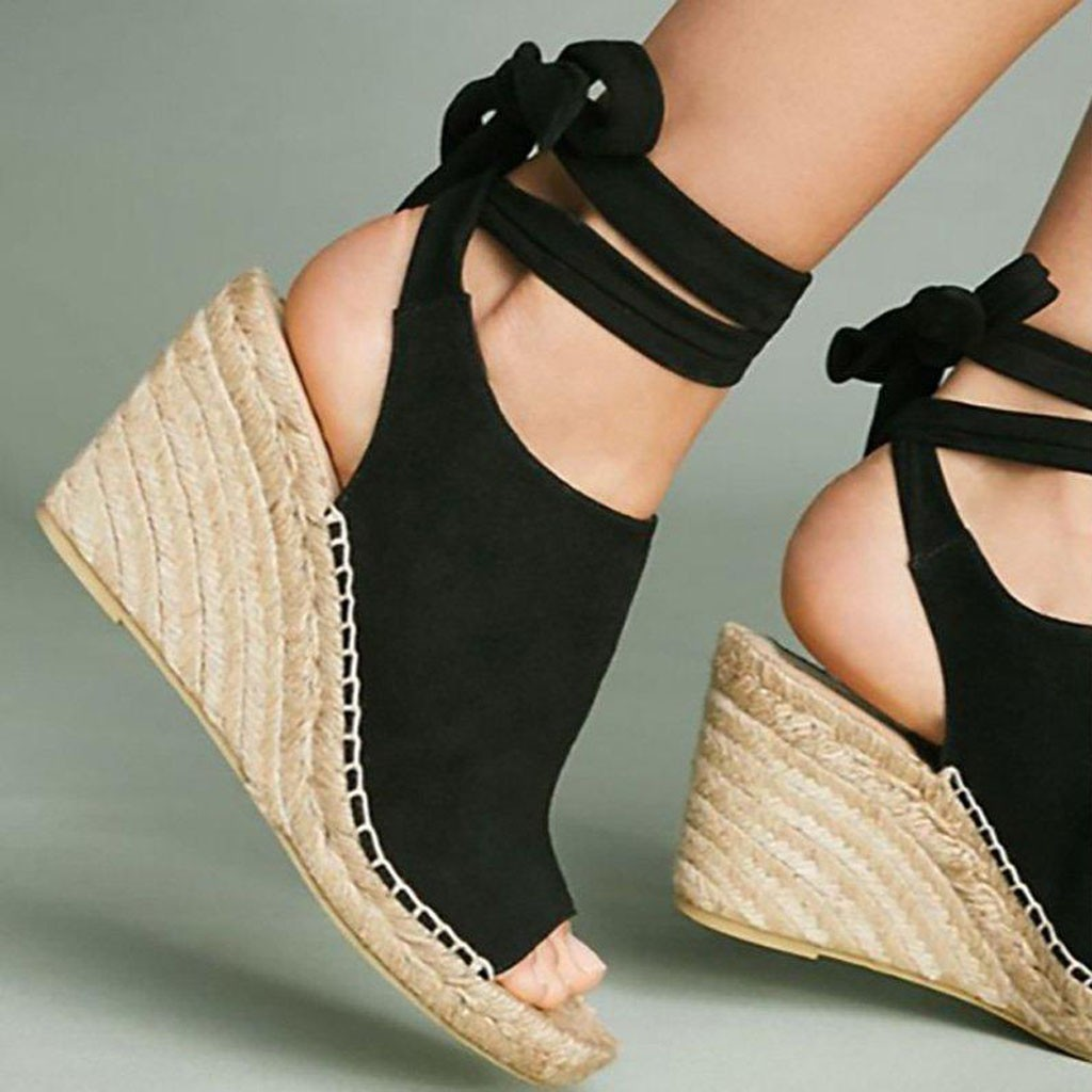 Big Size 35 43 New Summer Women 39 s Sandals Peep Toe Shoes Woman Retro High Heeled Platfroms Casual Wedges For Women Buty Damskie in High Heels from Shoes