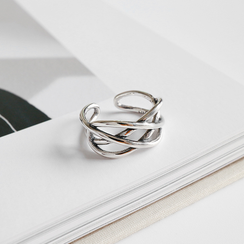 HFYK 925 Sterling Silver Ring 2019 Retro Hollow Weaving Ring For Women Open Silver Ring 925 Silver Jewelry bague femme anillos in Rings from Jewelry Accessories