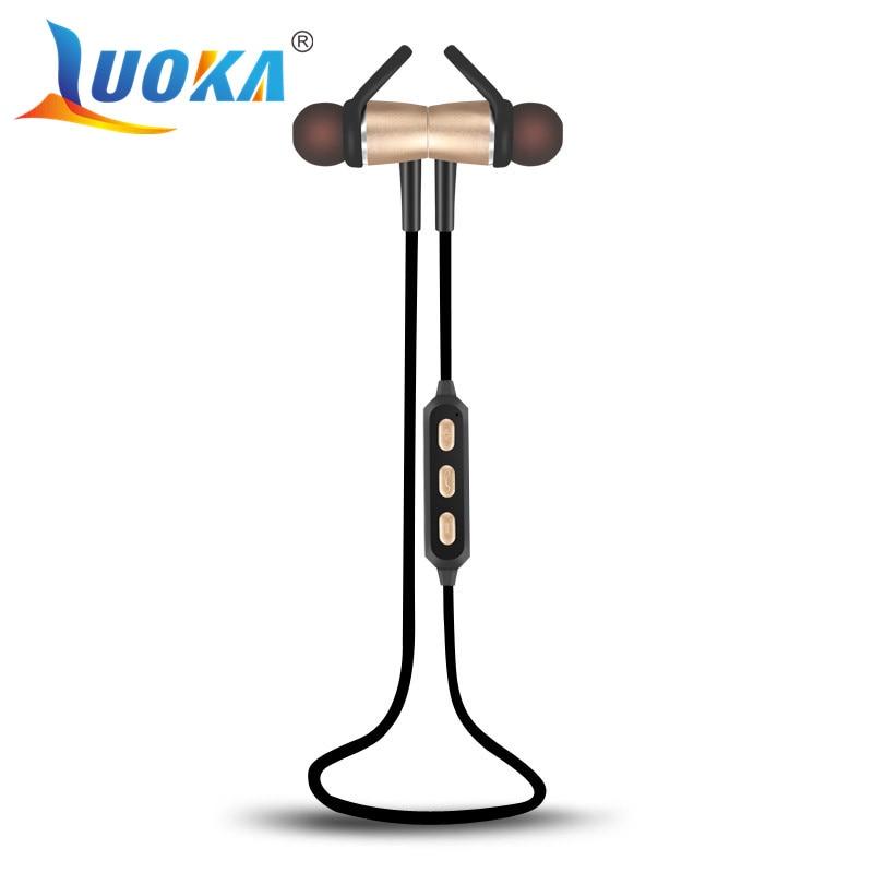 LUOKA Bluetooth Headset Metal Magnetic Wireless Stereo Headphones with Mic Sport Running Apt X HD