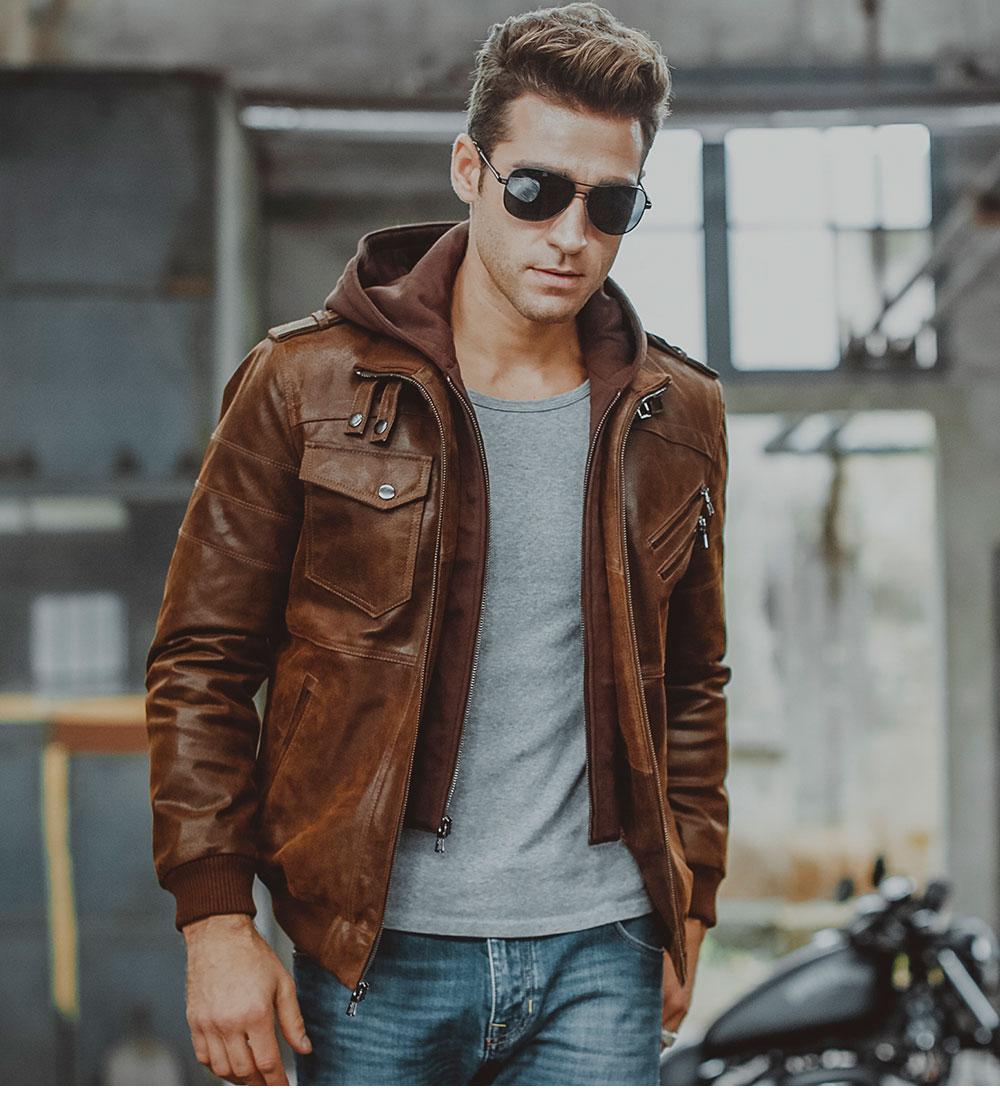 HTB15YoZXZrrK1RjSspaq6AREXXaz Men's Real Leather Jacket Men Motorcycle Removable Hood winter coat Men Warm Genuine Leather Jackets