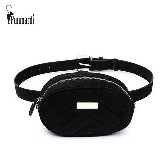 FUNMARDI Luxury Velvet Women Waist Bags New Fashion Waist Packs Brand Women Shoulder Bags Trendy Design Chain Bags WLHB1743