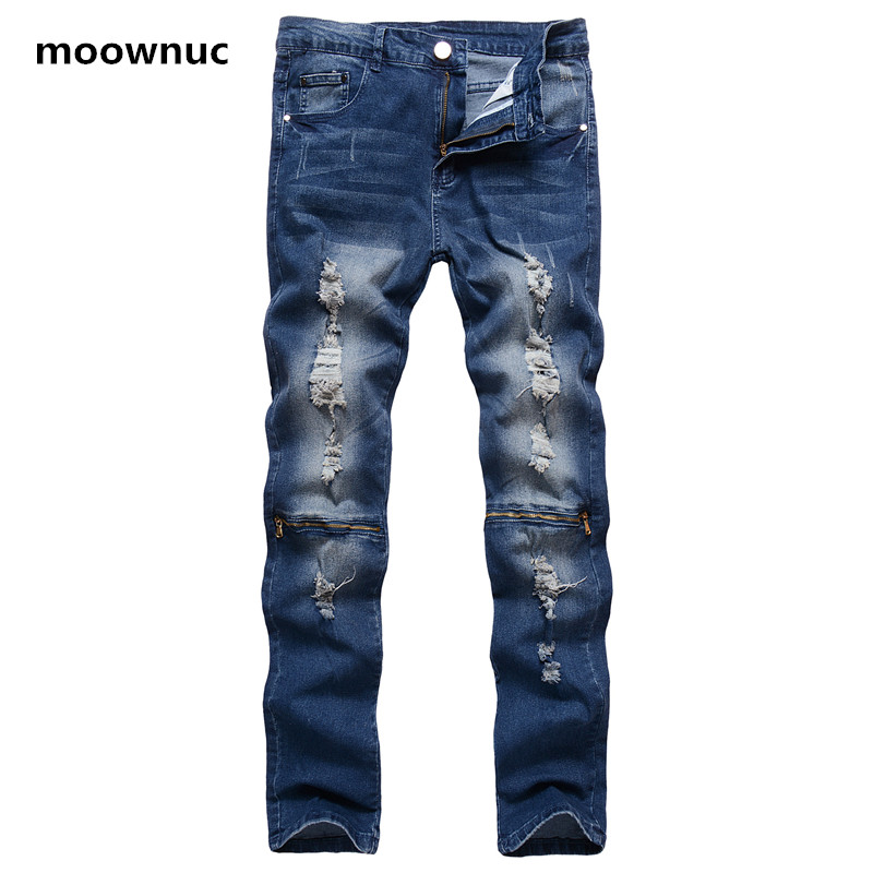 2018 New Style Straight Slim Fit Mens Denim Pants Distressed casual men's Jeans  Men Fashion broken hole 100% cotton Jeans NZ016