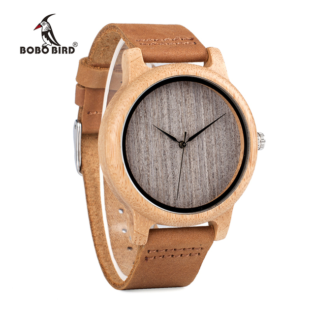 BOBO BIRD WA18L10 Vintage Lightweight Round Bamboo Wood Quartz Watches With Leather Bands for Women Men watches top brand design 2