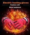 Moto de la motocicleta de nuevo la mano usb batería de litio calentó los guantes de esquí deportes al aire libre guantes de calefacción eléctrica gantes moto luva