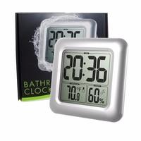 Waterproof Digital Bathroom Shower Wall Clock Thermometer Humidity Time Display O06 dropship