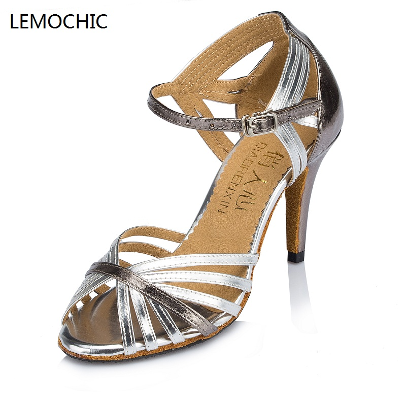 LEMOCHIC new salsa jazz samba tango rumba dancing ballroom cha cha women latin pointe kitten heel belly step dance shoes on sale
