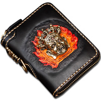 Original handmade short Genuine Leather men wallets Three dimensional embossed vertical women's wallet and coin purse