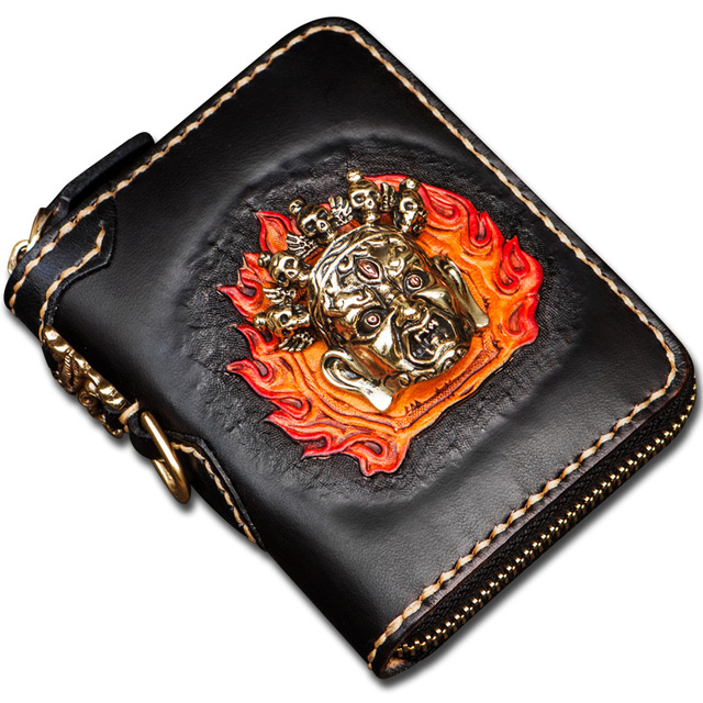 Original handmade short Genuine Leather men wallets Three-dimensional embossed vertical women's wallet and coin purse