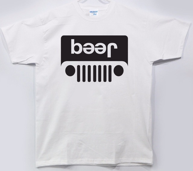 9ceee6bc0 100% Cotton Summer Mens 3D Print Tshirt Jeep Beer Funny Parody Tee Shirt  Drinking Party