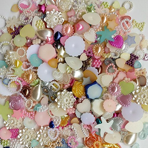 50/200pcs Random 4-20mm Half Round Pearls Seastar Bow Rose Rhinestone Flat Back Pearls Bead Loose Beads Gem