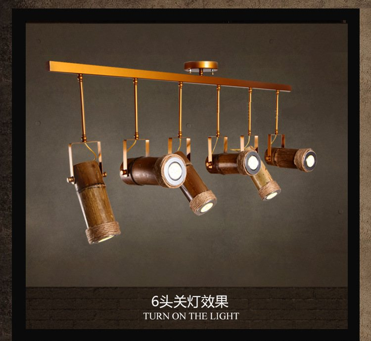 Bamboo Lighting Pendants Chandelier Searchlight Wooden Rope Village Store Spot Led Spots Tracking Lights Light Retro Spotlights
