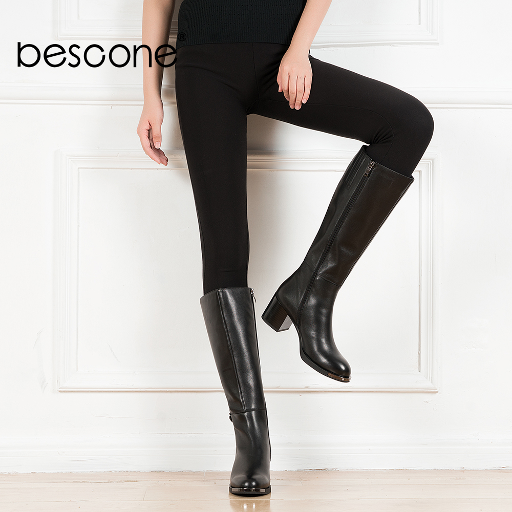 BESCONE Genuine Leather Women Boots High Quality Knee high Round Toe Basic Boots Low Heels Fashion