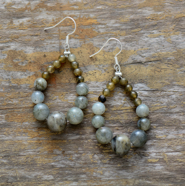 Stone Earrings Graduated Labradorite Teardrop Dangle Earrings