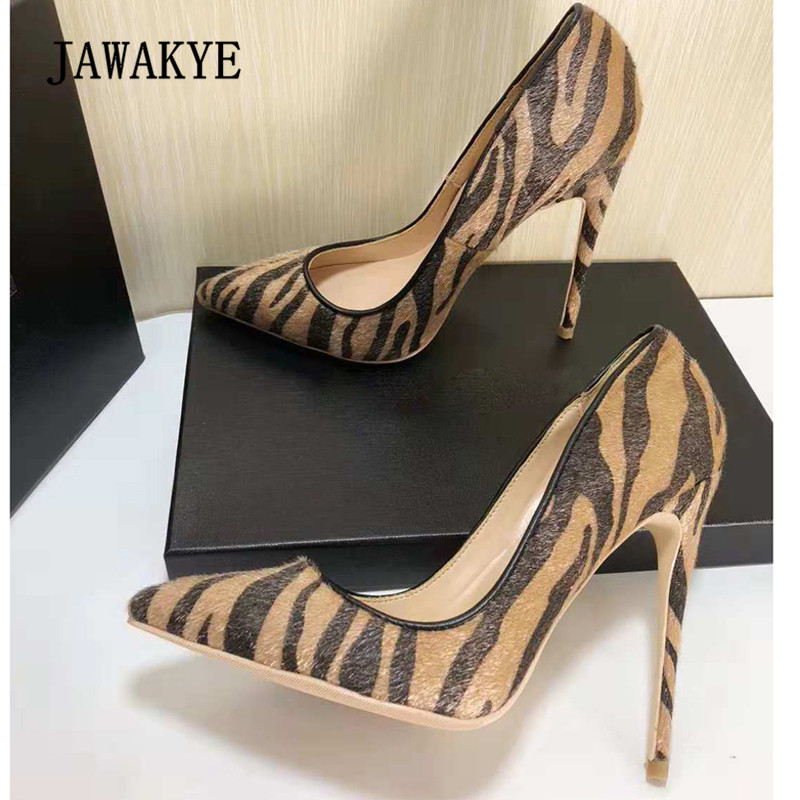 2018 Sexy Horsehair High Heel Shoes Woman Pointed Toe Zebra Stripe Pumps Women Fashion Party Shoes 2018 spring pointed toe thick heel pumps shoes for women brand designer slip on fashion sexy woman shoes high heels nysiani