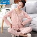 Outono Inverno jovem mãe maternidade mulheres grávidas pijama casa terno pijama de algodão sleepwear maternidade roupas de enfermagem de enfermagem