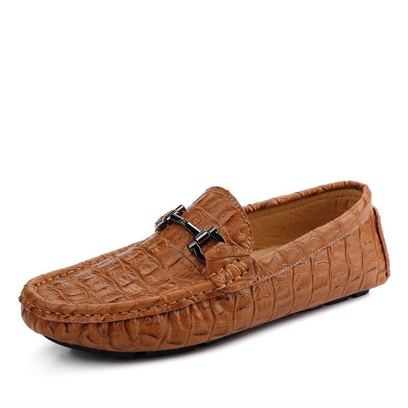Hommes Alligator Sur Glissement En Black dark white Blue Style brown Cuir Casual Conduite Relief Mocassins Chaussures vg7yY6Ibf