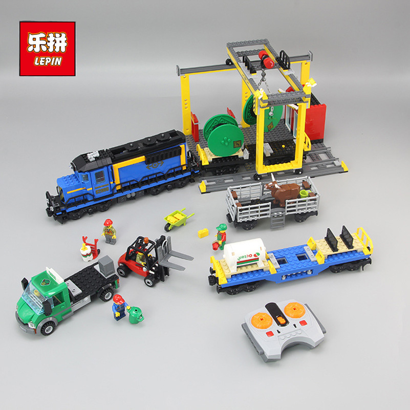 Cargo Train Model Block Toys City RC Train Birthday Gifts For Children Compatible Lepin Technic Series Building Blocks Set 02008 0367 sluban 678pcs city series international airport model building blocks enlighten figure toys for children compatible legoe