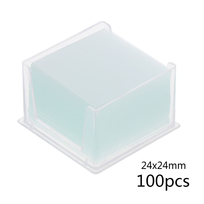 100 Pcs Transparent Square Glass Slides Coverslips Coverslides For Microscope Optical Instrument