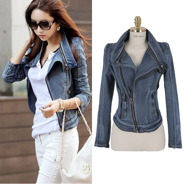 Vintage Side Zipper Slim Women   Basic   Coats New Spring Long Sleeve Plus Size Turn-Down Collar Denim   Jacket   Female Jeans Coat