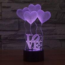 3D illusion Visual Night Light Love Heart shape 7 Colors Change LED Desk Lamp Bedroom Home