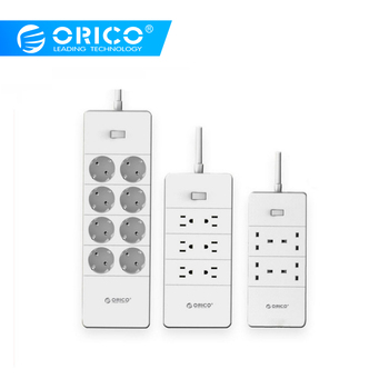 Orico HPC-V1 USB EU UK US Soket Listrik Overload Switch Perlindungan Surge 4 6 8 AC Outlet 5 Port USB 2.4A Smart Power Strip