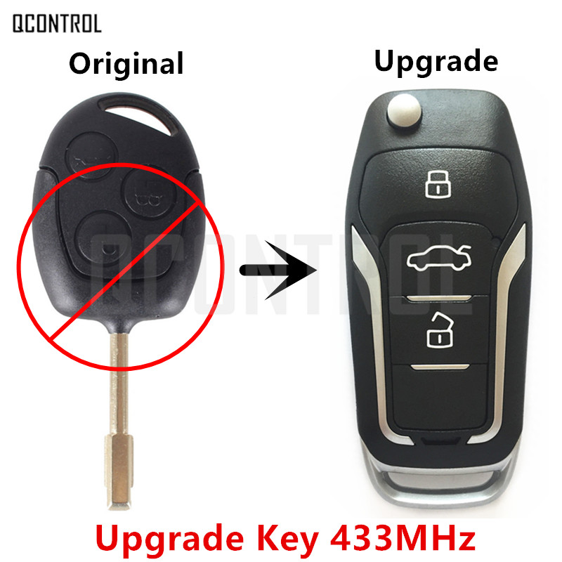 QCONTROL Upgrade Car Remote Key for Ford Focus C-Max D-Max Mondeo Fiesta Galaxy Fusion FO21 Blade 433MHz