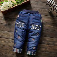 幼児ミッキーミニーデニム暖かいパンツ赤ちゃん男の子女の子冬の綿ズボンフリースパッド入りレギンス子供ベルベット厚みのジーン