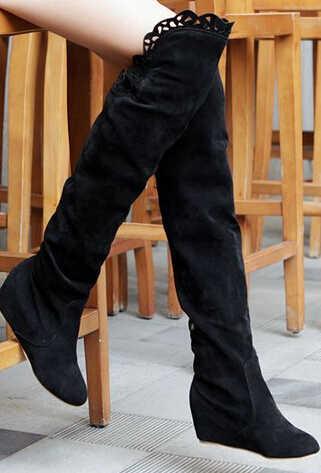 XingDeng kadınlar tatlı dantel diz çizmeler üzerinde kama uzun botlar yüksekliği artan şövalye motosiklet çizmeler artı boyutu 34-43