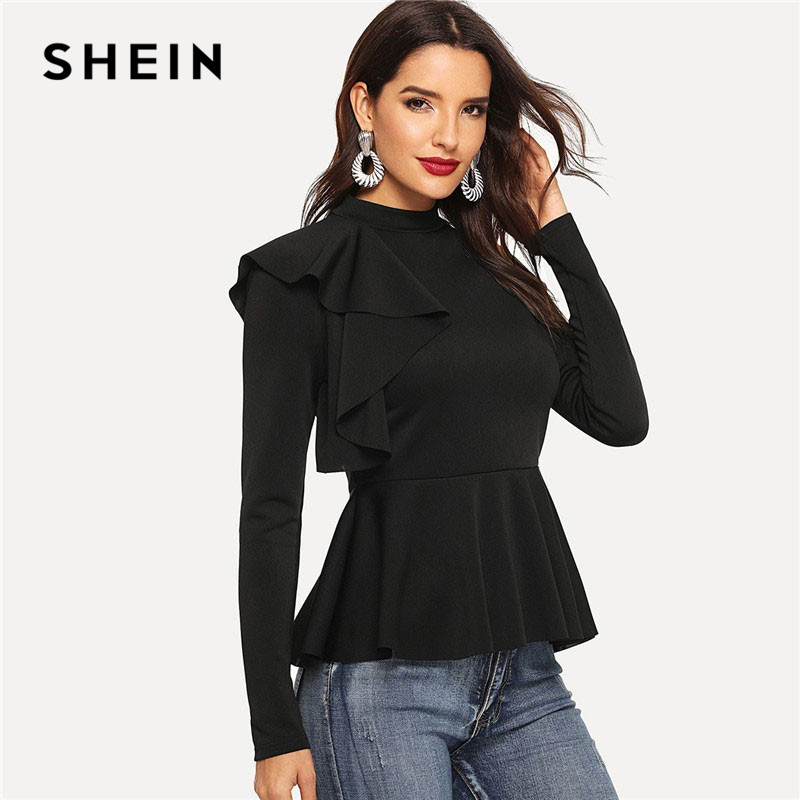 SHEIN Black Ruffle Trim Mock-Neck Peplum Top Long Sleeve Blouse Women Spring Solid Slim Fit Stand Collar Tops And Blouses