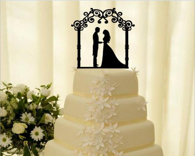 Free Shipping Black Acrylic Wedding Cake Topper Romantic Bride ...