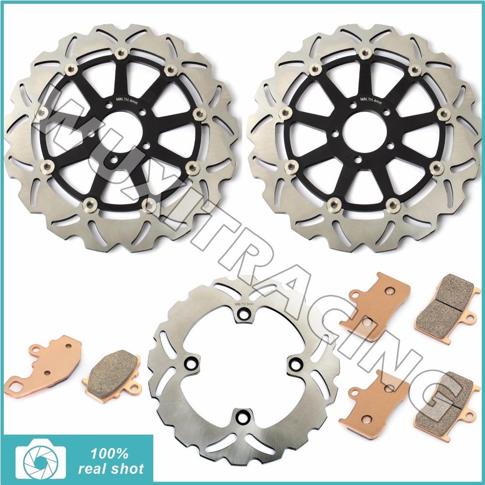 320 мм мотоцикл Новый полный комплект передние задние тормозные диски роторов + Тормозные колодки для Kawasaki ZX9R ZX9 ZX900 ZX в р 900 2002 2003 02-03