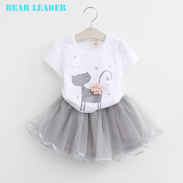 Bear Leader Girl Dress 2016 New Summer Casual Style Cartoon Kitten Printed T-Shirts+Net Veil Dress 2Pcs for Girls Clothes 2-6Y