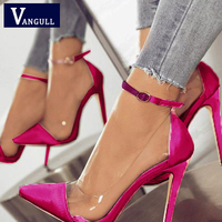 Spring & Autumn new Style high heel Pointed Toe Party Women's Shoes Color matching PU leather buckle fashion Sexy ladies Pumps