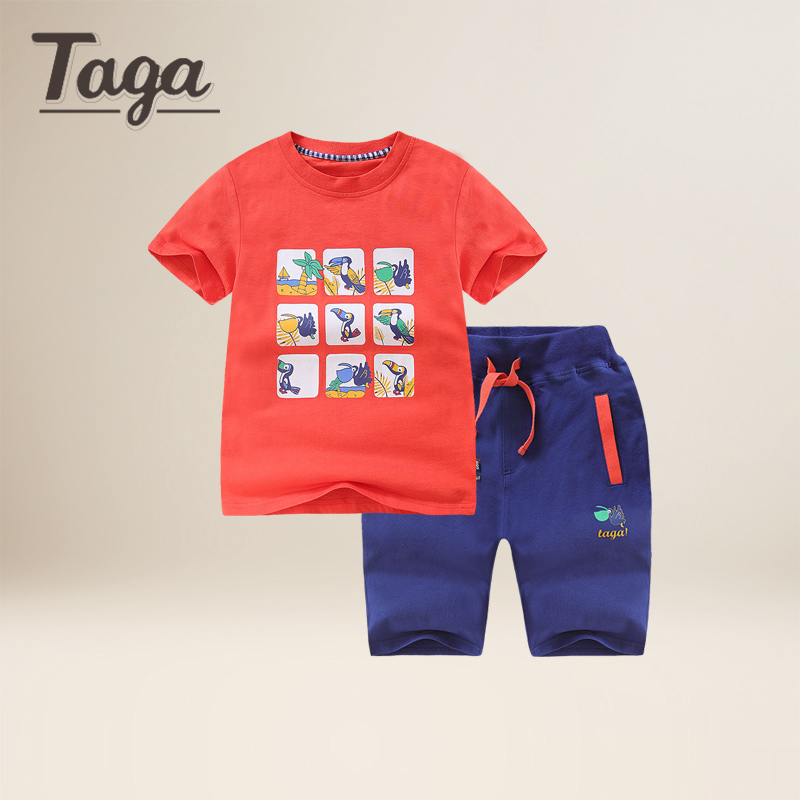 TAGA Summer Kids Clothes Sets Short Sleeve Boy T-shirt Pants Suit Clothing Set Newborn Sport Suits Children Baby Boy Clothes