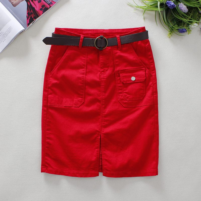 2019 Summer Red Jeans Skirts Womens Big Pockets Knee-Length Skirts England Style Empire Straight Solid Shorts Denim Skirts 2361